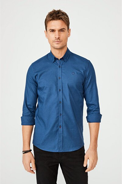Erkek Indigo Düz Alttan Britli Yaka Slim Fit Gömlek A02y2244