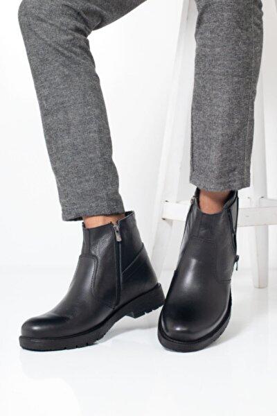 Kışlık Içi Dışı Hakiki Erket Siyah Bot Postal Soğuk Havaya Dayanıklı Ayakkabı