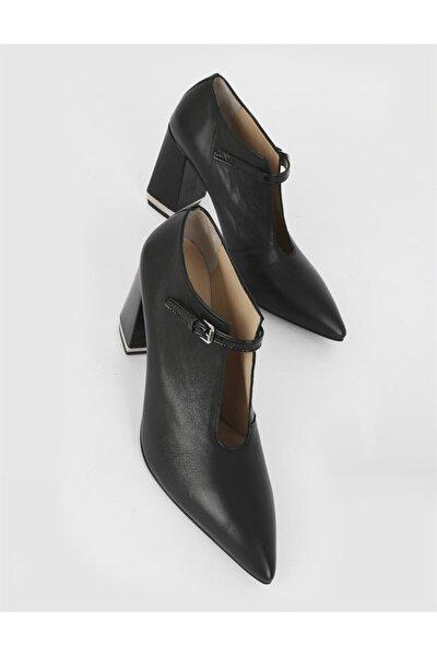 Era Hakiki Deri Kadın Siyah Deri Siyah Rugan Topuklu Ayakkabı