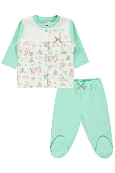 Kız Bebek Mint Yeşili Baskılı Pijama Takımı