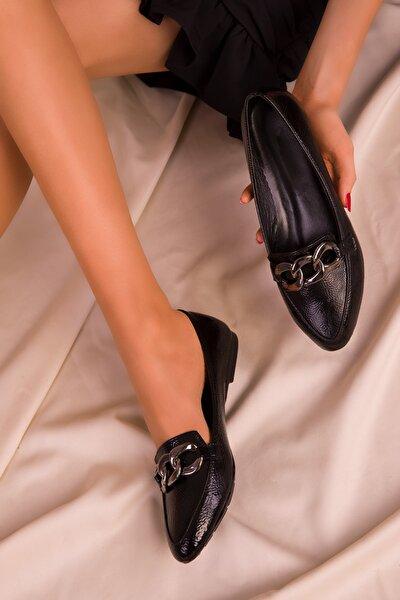 Siyah Mat Rugan Kadın Babet 15750