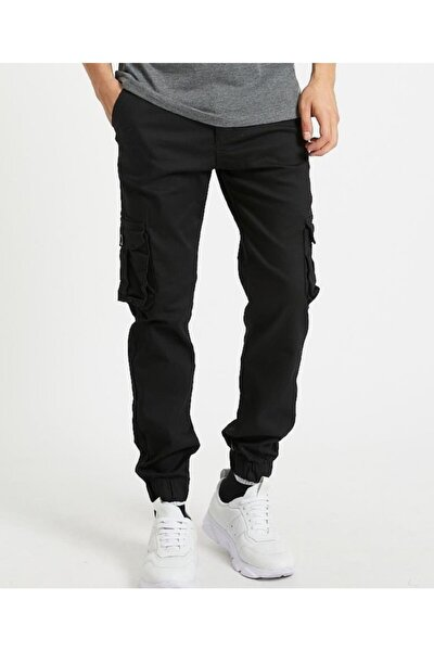 Erkek Siyah Kargo Jogger Pantolon