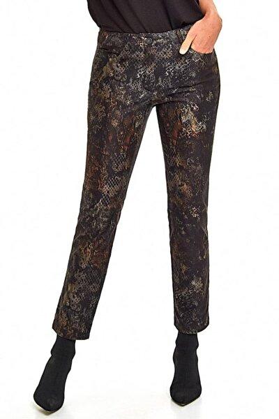 Kadın Haki Beş Cepli Desenli Pantolon