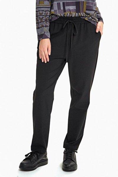 Kadın Siyah Beli Lastikli Ve Cepli Pantolon