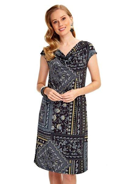 Kadın Gri Degaje Yaka Beli Bağcıklı Desenli Elbise 020-2507
