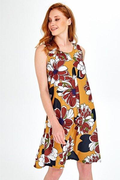 Kadın Sarı Kolsuz Desenli Önü Ve Arkası Pileli Elbise 019-04-4073