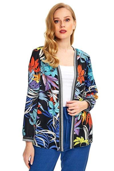 Kadın Siyah Yakası Ve Kolu Şeritli Desenli Ceket