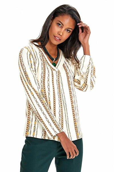 Kadın Bej V Yaka Önü Nervürlü Desenli Bluz 190-3028