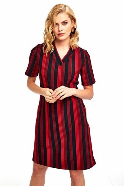 Kadın Kırmızı V Yaka Kısa Kol Çizgili Triko Elbise