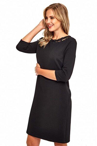 Kadın Siyah Yakası Çapraz Biyeli Elbise