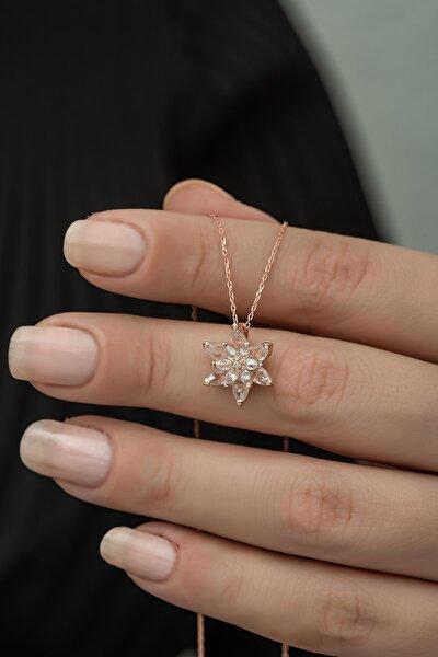 925 Ayar Beyaz Lotus Çiçeği Kolye Kadın Gümüş Kolye