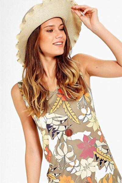 Kadın Bej V Yaka Kolsuz Desenli Elbise 019-04-2529