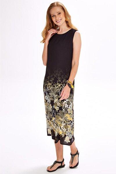 Kadın Siyah Eteği Desenli Kolsuz Uzun Elbise 020-4020