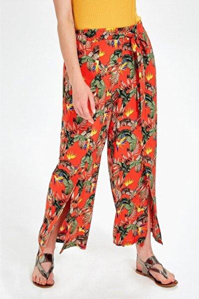 Kadın Turuncu Beli Lastikli Desenli Pantolon 019-03-3526