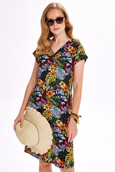 Kadın Renkli V Yaka Düşük Kol Desenli Elbise 020-4028
