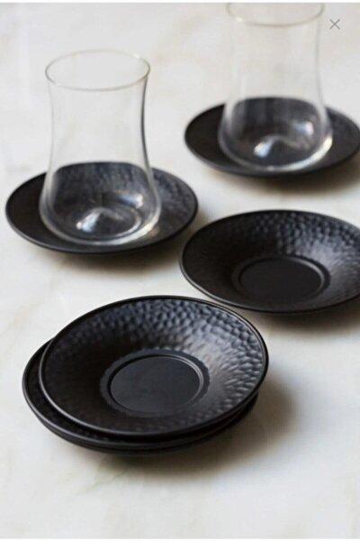 Metal Siyah Renkli 6'lı Çay Tabağı Seti