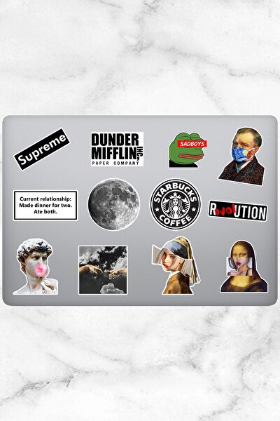 Aesthetic Temalı Laptop Sticker (12 Adet)