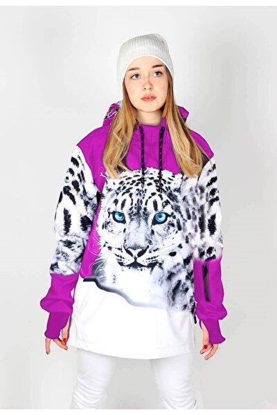 Snowsea White Tiger Fuşya Özel Tasarım Kadın Outdoor Snowboard Ve Kayak Montu