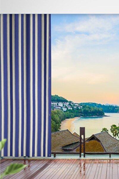 Her Ölçüde Enxboy Seçenekli Kuşgözlü Balkon Perdesi Balkon Brandası Mavi Beyaz