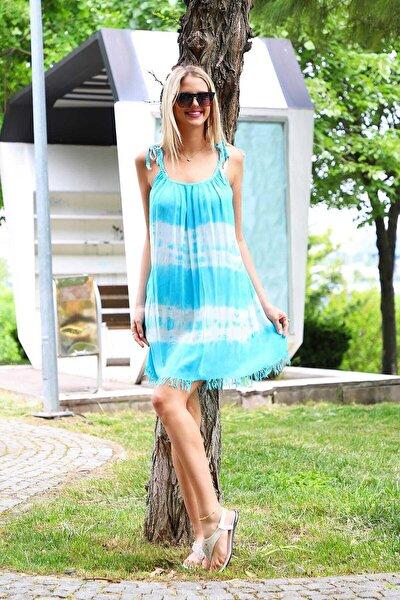 Kadın Turkuaz Enine Desenli Batik Elbise