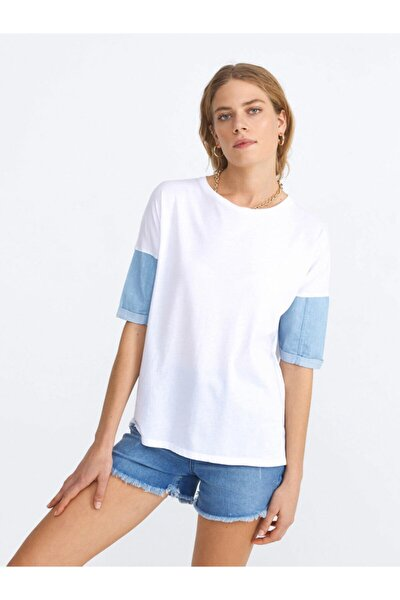 Xınt Yuvarlak Yaka Pamuklu Rahat Kesim Garnili Tişört