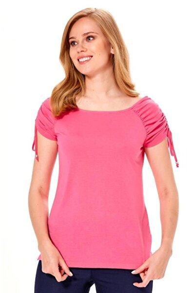 Kadın Açık Fuşya Kolu Büzgülü Bağcıklı Bluz 018-1204