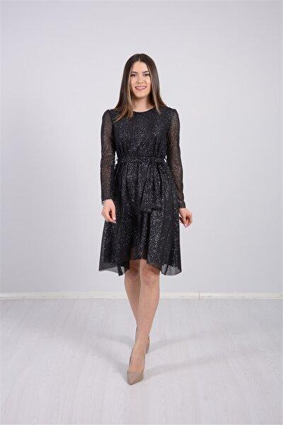 Tül Üzeri Simli Asimetri Kesim Elbise - Siyah
