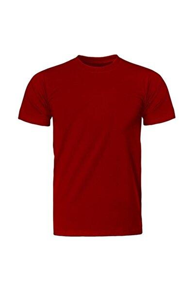 Unisex Kırmızı  Bisiklet Yaka  Regular Basic Tişört
