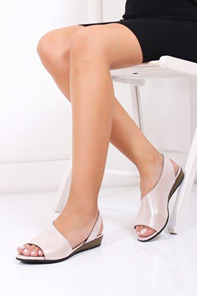 Hakiki Deri Pudra Simli Kadın Deri Sandalet Dp15-0051