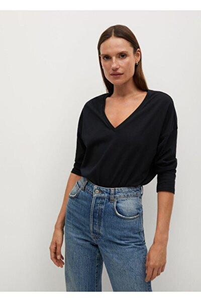 Kadın Siyah Organik Pamuklu Tişört