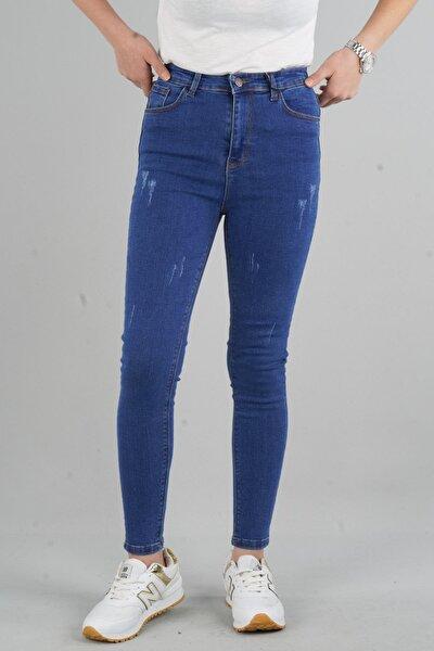 Herdem 4345 Kadın Lacivert Tırnaklı Taşlamalı Yüksek Bel Skinny Jeans