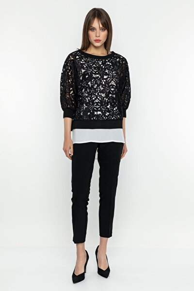 Dantel Detaylı Siyah Bluz