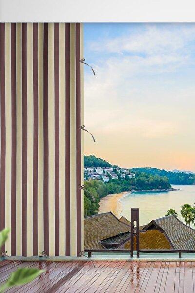 Her Ölçüde Enxboy Seçenekli Bağcıklı Balkon Perdesi Balkon Brandası Kahve Krem