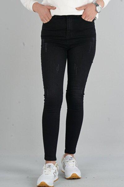 Herdem 4345 Kadın Siyah Tırnaklı Taşlamalı Yüksek Bel Skinny Jeans