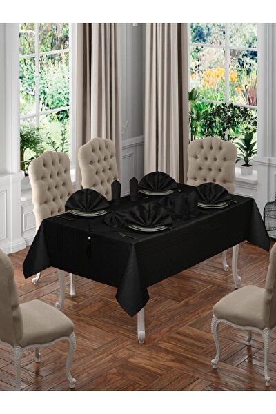 Eliza 26 Parça Masa Örtüsü Seti - Siyah