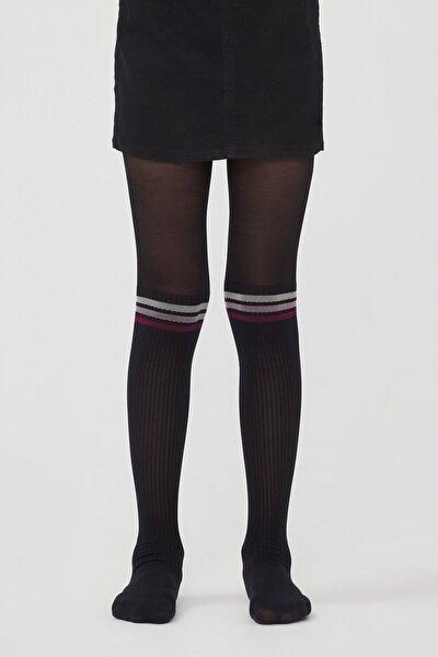 Siyah Pretty Colorful Çizgili Külotlu Çorap