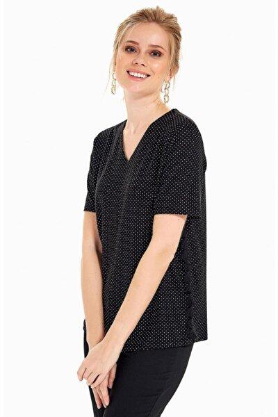 Kadın Siyah V Yaka Kısa Kol Püskül Şeritli Puan Bluz