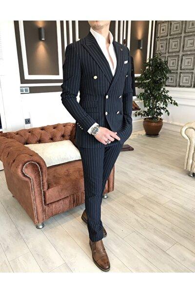 Italyan Stil Kruvaze Ceket Pantolon Takım Elbise Lacivert T4333