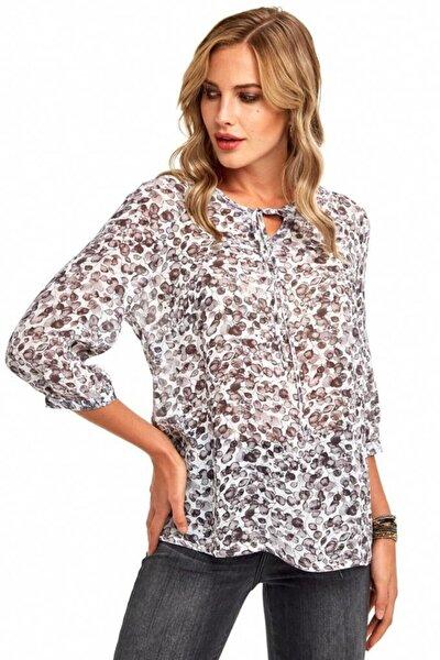 Kadın Kırık Beyaz Yakası Bağcıklı Desenli Bluz 190-3025-01