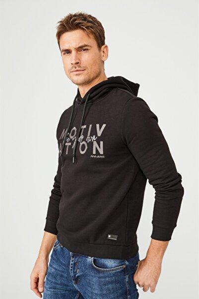 Erkek Siyah Kapüşonlu Yaka Nakışlı Sweatshirt A02y1084