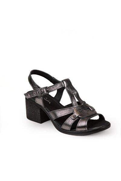 Kadın Platin  Topuklu Sandalet