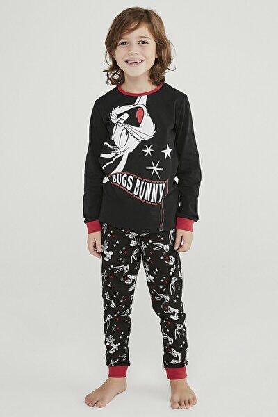 Siyah Erkek Çocuk Bugs Bunny 2li Pijama Takımı