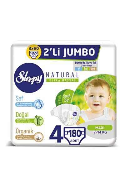 Natural Bebek Bezi 4 Beden Maxi 3x2'li Jumbo 180 Adet