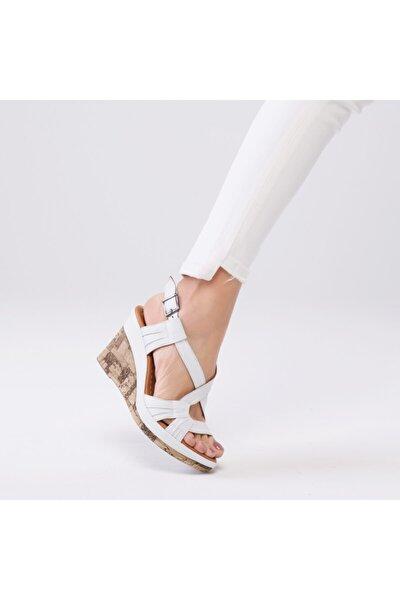 Kadın Beyaz Loreana Kaplama Dolgu Deri Sandalet