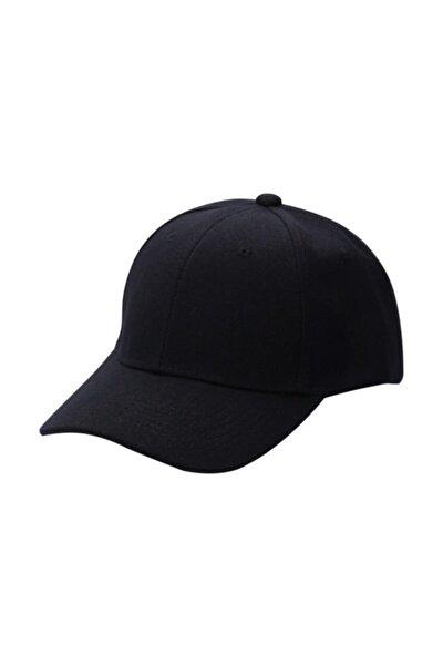 Siyah Spor Şapka Unisex Arkası Cırtlı Ayarlanabilir