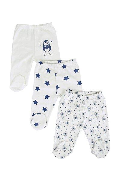 Beyaz Erkek Bebek Yıldızlı Penguenli 3'lü Takım