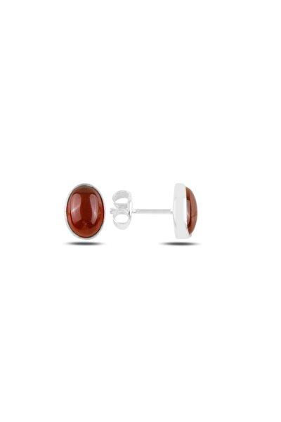 Gümüş 925 Ayar Oval Kırmızı Akik Doğal Taşlı Küpe