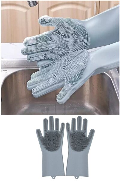 Magic Gloves Sihirli Bulaşık Eldiveni Mutfak Banyo Temizleme Fırçası Oto Ev Iş Pratik