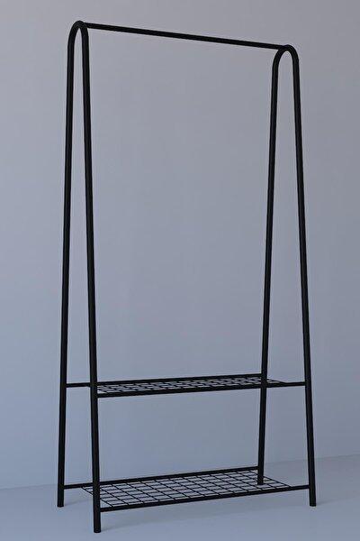 2 Raflı Metal Ayaklı Portmanto Askılık,konfeksiyon Elbise Askısı Siyah