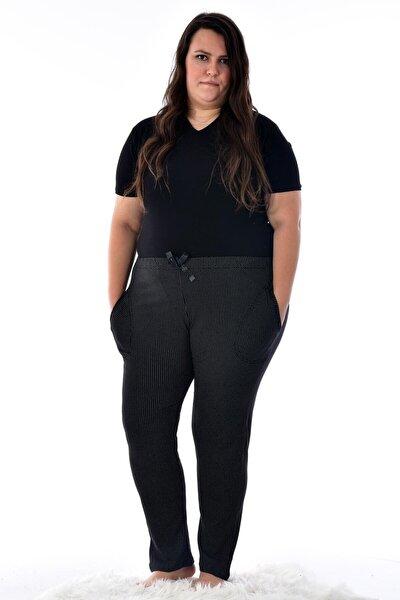 Kadın Siyah 424-10 Büyük Beden Desenli Cepli Tek  Pijama Altı